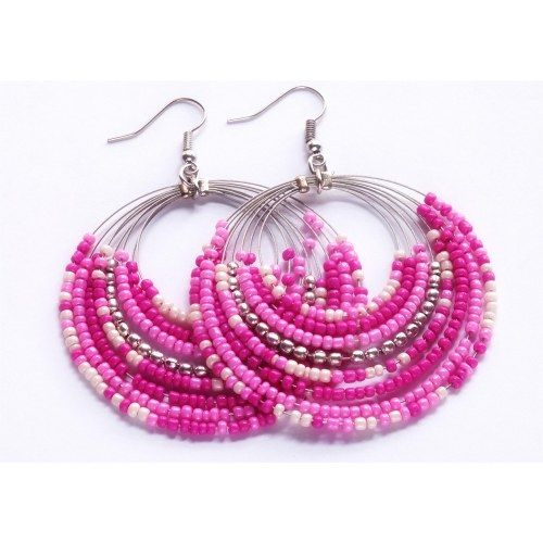 PINK WITH SILVER BEADS EARRINGS