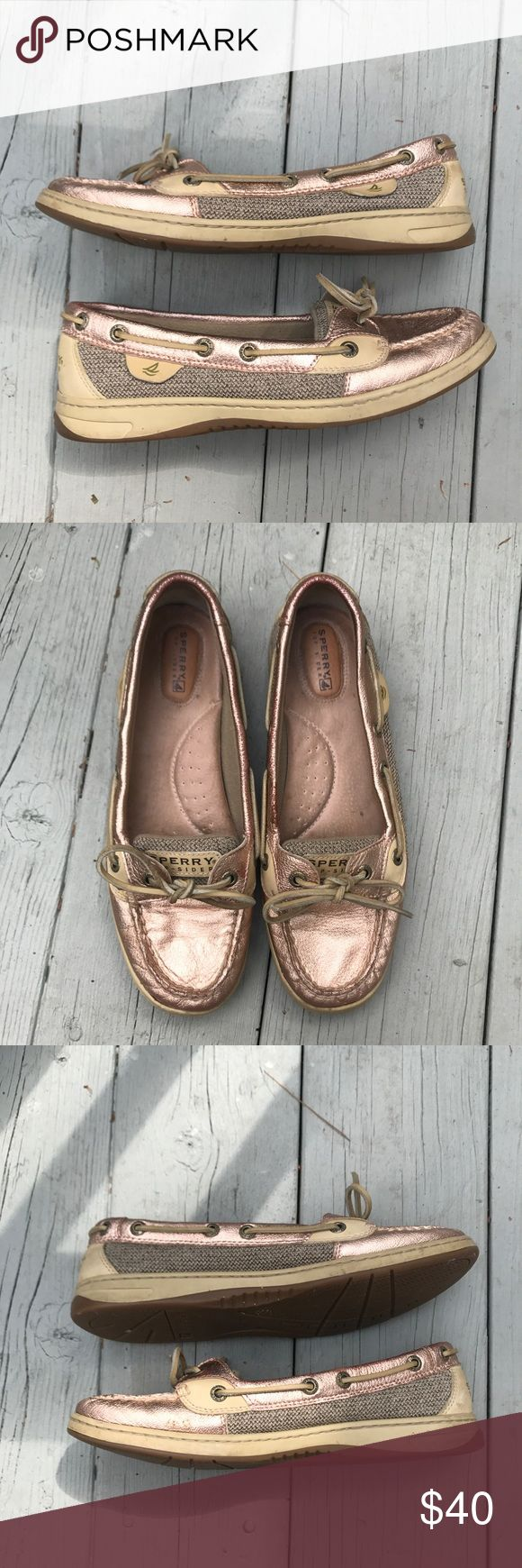 Rose Gold Sperry Angelfish Boat Shoes Sz 8 Women's rose gold Sperry Angelfish boat shoes in size 8. Great pre-owned condition. Show light wear. No odor. Sperry Top-Sider Shoes Flats & Loafers