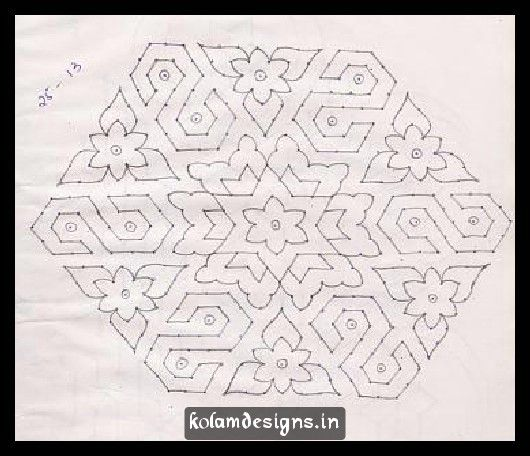 Pretty block shaped flowers arranged in a sequence. Beautiful Flower Pulli Kolam Designs With Small Star kolams. Kolam Format :24 dots - 1 row,Stop