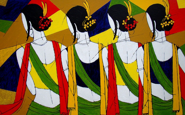 Tribal women, 57X36 Inches, Acrylic On Canvas, 2012
