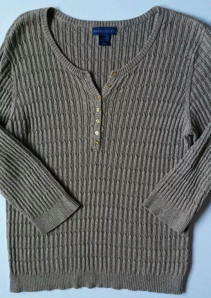 KAREN SCOTT  Long Sleeve HENLEY STYLE Cable Knit Pullovr Sweater Sz Large #KarenScott #Henley #Career