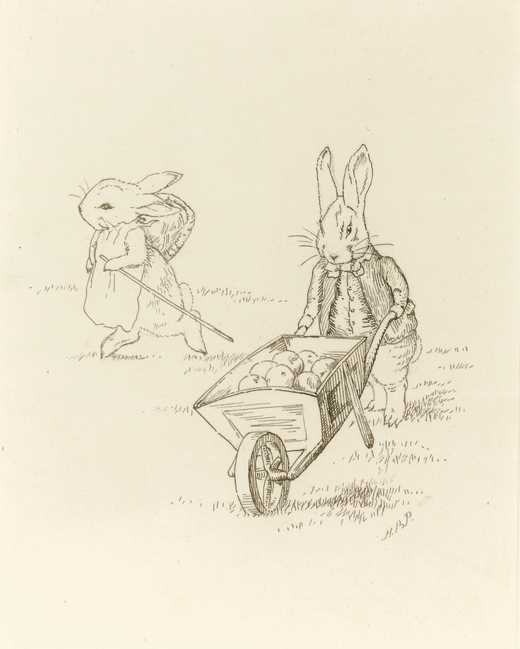 Beatrix Potter - THE APPLE GATHERERS: PUSHING A LADEN WHEELBARROW Source: Sotheby's.com