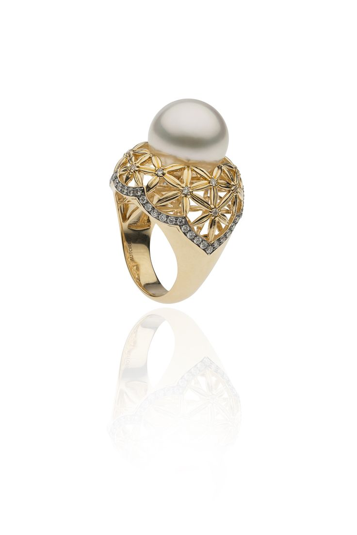 Autore Flower of Life Ring  18k Yellow and Black Gold with Diamonds and South Sea pearls. Inspired by the Forbidden City in Beijing