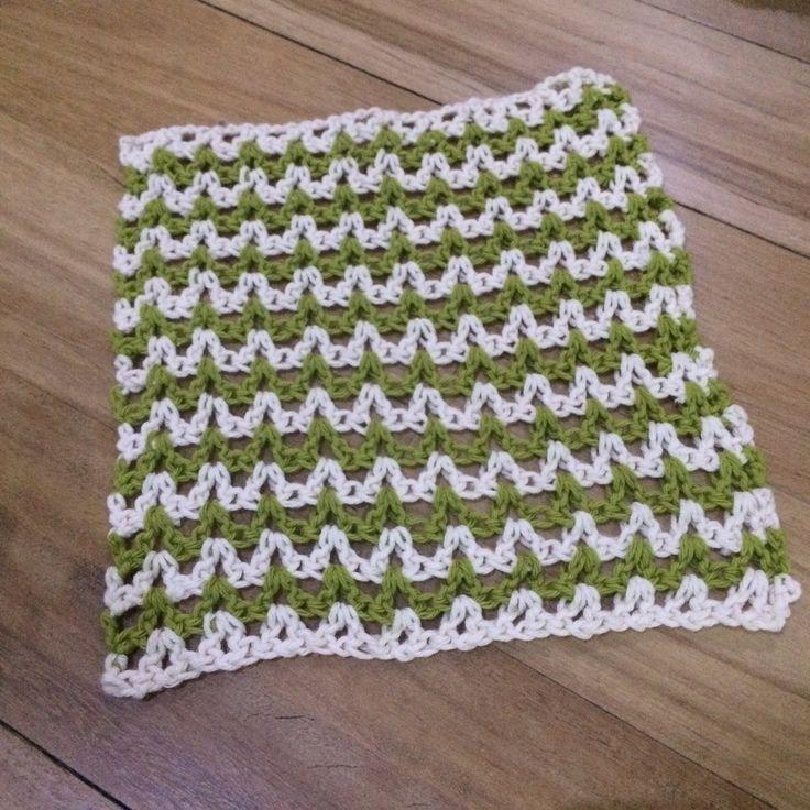 Image of Handmade Crochet Wash Cloths in Chevron Stitch