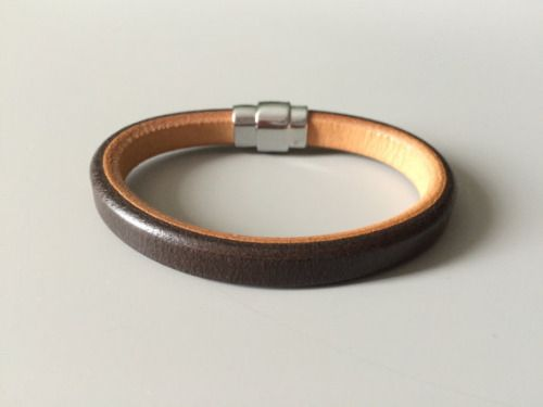 Mens Brown Leather Bracelet - Brown Licorice Leather...