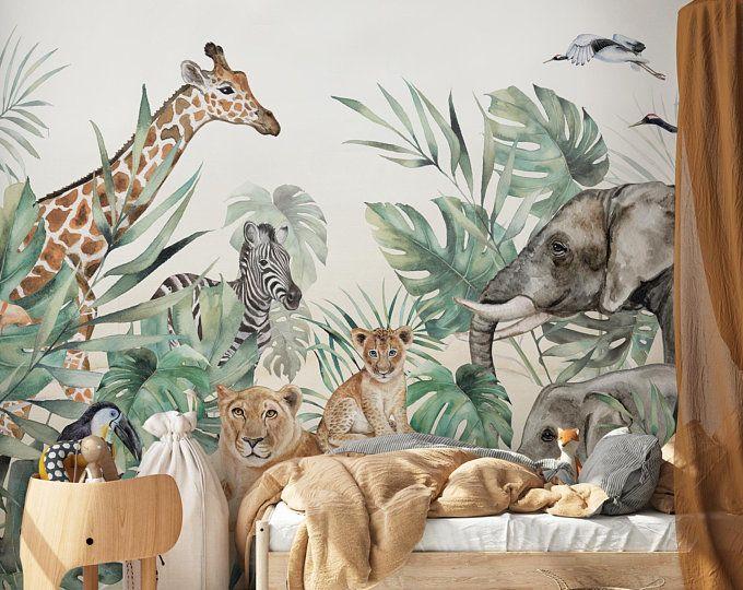 Lovasis Wallpaper For Children With Animals Safari Wallpaper Lion Giraff Nursery Wallpaper Tropical Wallpaper Animal Bedroom Nursery Mural Jungle Wallpaper