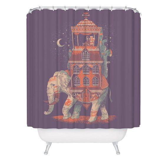 Elephant Shower Curtain Trunk of Treasures Beautiful by FuzzyInk