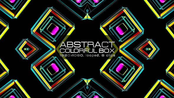 Abstract Colorful Box Video Animation | 8 clips | Full HD 1920×1080 | Looped | Photo JPEG | Can use for VJ, club, music perfomance, party, concert, presentation | #3d #box #colorful #dance #disco #geometric #glow #loop #music #neon #pattern #rave #sequence #techno #vj