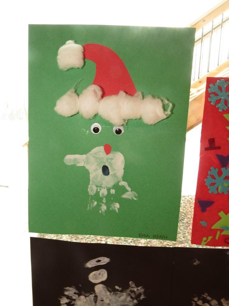 Santa made with handprint. toddler craft.