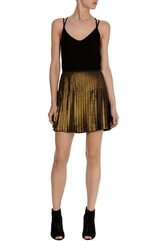 Karen Miller Metallic PLeated Mini Skirt
