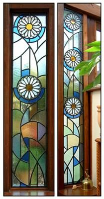 Stained Glass Daisies: I had two plain glass panels either side of a door to a garden room which were crying out for something decorative! I used copper foil to create the daisies