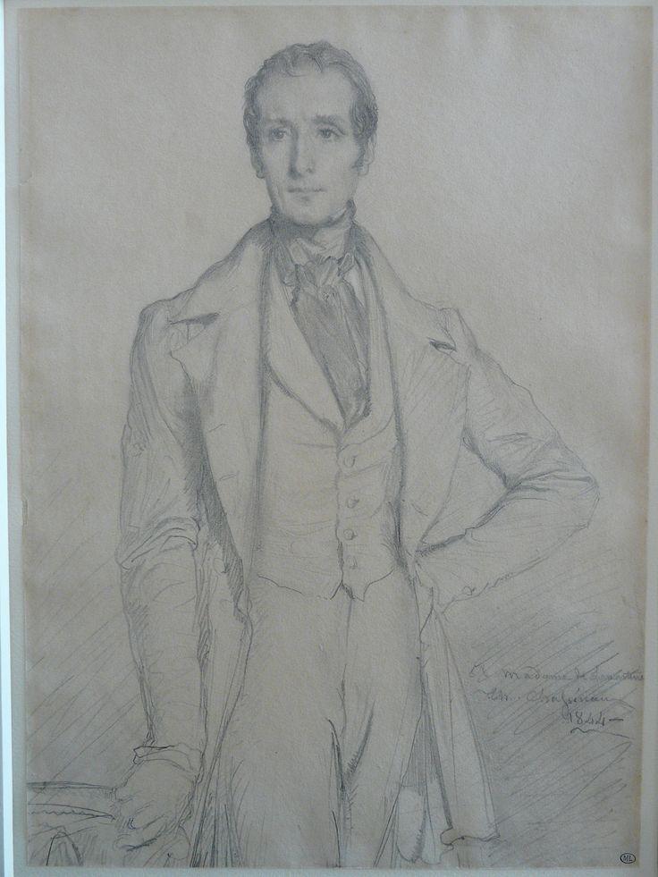 CHASSERIAU Théodore,1844 - Portrait de Lamartine - drawing.
