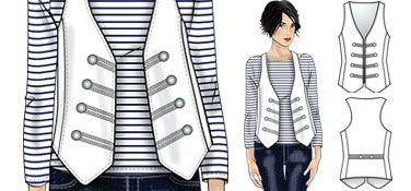 FREE PDF download for This funky vest is just the thing to add a little nautical flair to your spring wardrobe; it's designed for firm fabrics like denim, twill, heavy linen and crepe, as well as double knits and brocade.Team this super-chic little number with your favorite jeans and a classic Breton T for effortless cool, or try it as an unexpected tough-girl accent over a floaty floral dress.    Now Go Sew!