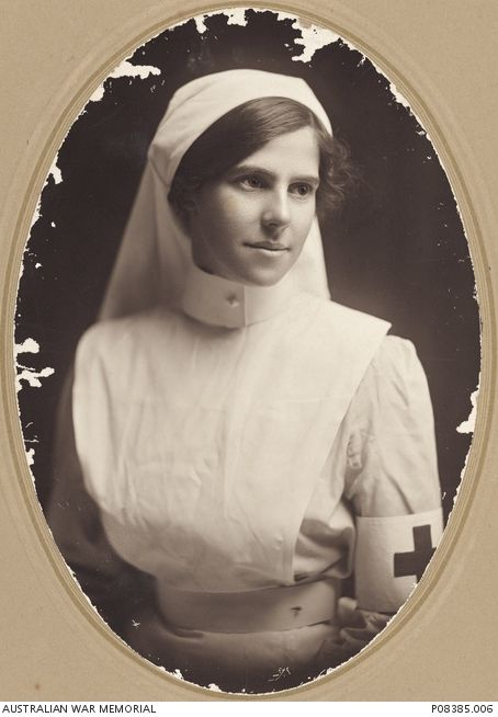 Studio portrait of Staff Nurse Mary Agnes (Daisy) Day. Nurse Day was a member of Queen Alexandra's Imperial Military Nursing Service Reserves (QAIMNS).