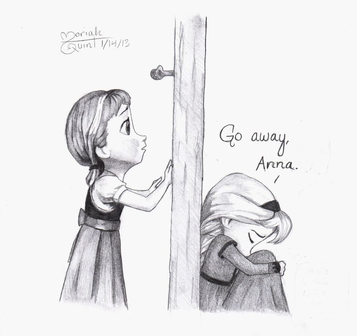 Go Away, Anna. Decided to draw the other side of the door when Elsa says that. Artist: Moriah Q., age 12.