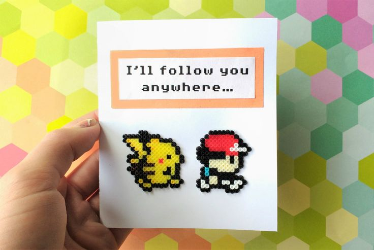 Pokemon Valentine's Day Card - Pikachu & Ash, Geek Gifts, Geek Cards, Love Cards, Gifts for Gamers, Nerd Gifts, Perler Beads, Hama Beads by 8BitEarrings on Etsy