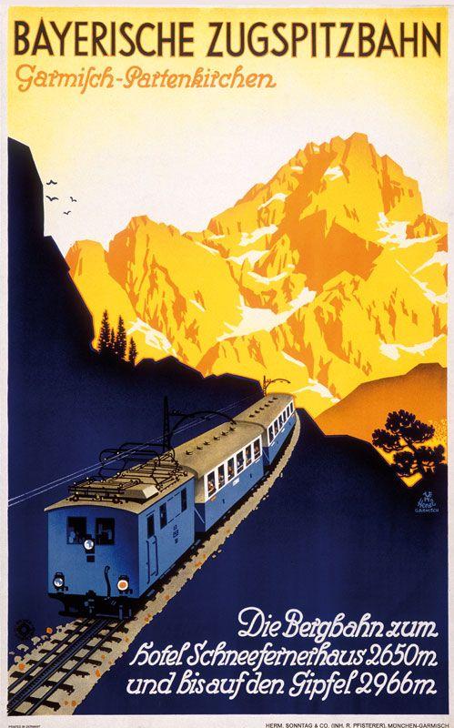 Garmisch-Partenkirchen Tourism - Bayerische ZugspitzBahn - Illustrated by Edwin Henel - Vintage Rail Poster