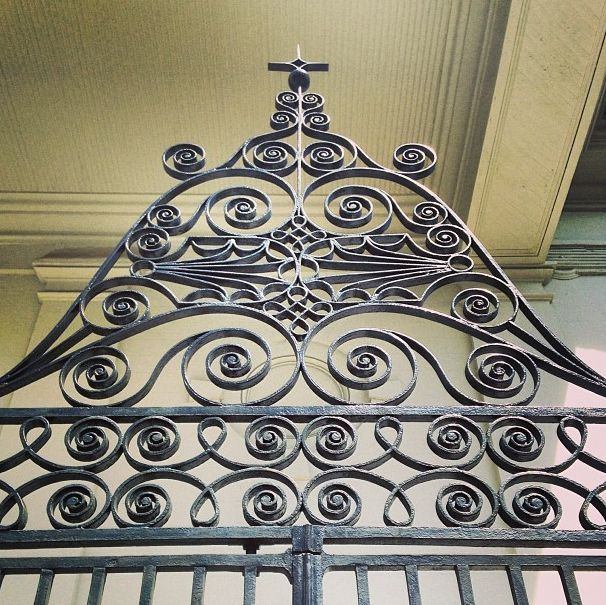 Exquisite wrought iron gates at St. John's Lutheran Church in Charleston, S.C.