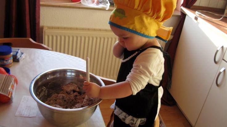 Olvia Grace Knapp making cookies