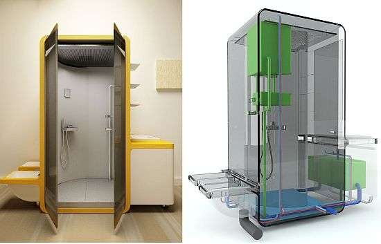 Recycling Bath Systems - The 'Aquabox' Shower by Massimo Brugnera Reuses Gray Water