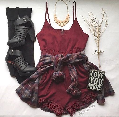 High-heeled black shoes, knee-high socks, red romper, flannel shirt - http://ninjacosmico.com/17-hipster-outfits-try-spring/