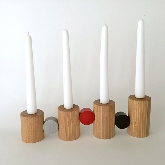 Fifties Style Advent Candleholder handmade in beach wood and finished with Danish oil by woodturner Anna Cates