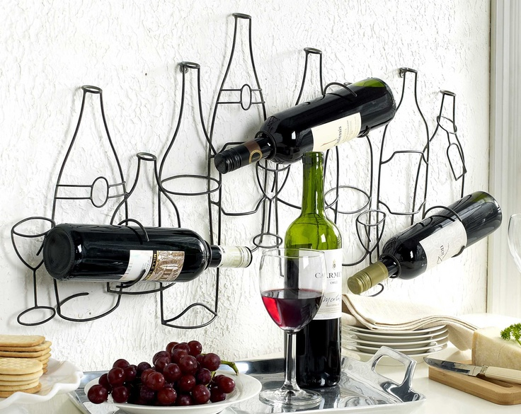 Wire wine bottle holder decor happy hour pinterest wire decor and bottle holders - Wire wine bottle carrier ...