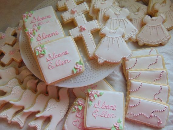 This listing is for ONE DOZEN Baptism/Christening cookies. I can do these in a combination of all of the above or one specific cookie design.