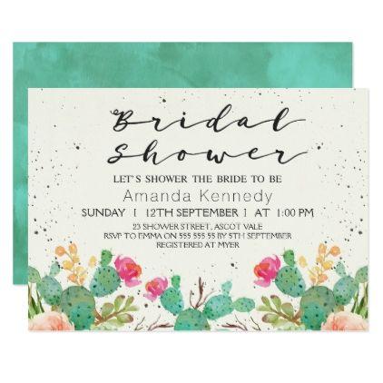 #bridal - #Watercolor Floral Cactus Bridal Shower Invitation