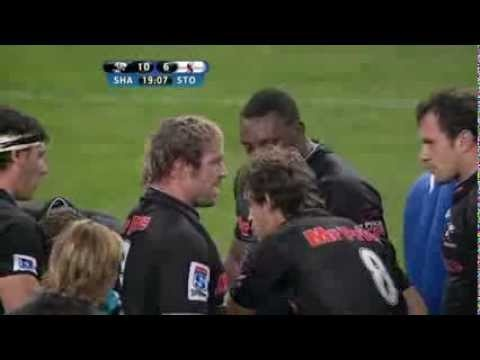 """Tendai """"The Beast"""" Mtawarira sustained Anton Bresler   (112kg)...Unbelievable lifting! Super Rugby 2012: 27 May: Sharks vs Stormers"""