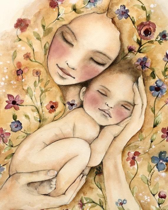 Geschenk für Mama, Wandkunst Dekor, Liebe, Kunstwerk, Geschenk für Tochter, meine neue Welt Kunstdruck