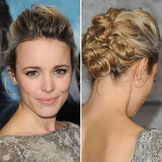 All Twisted Up: A high-volume updo slowly meandered into a series of twisted knots, making for one of Rachel's more glamorous looks to date.