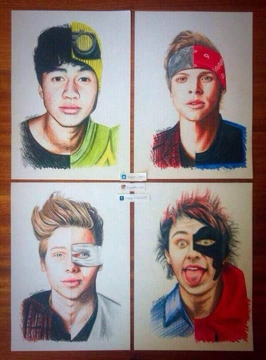drawing of 5 seconds of summer this is actually so goo omfg they posted it