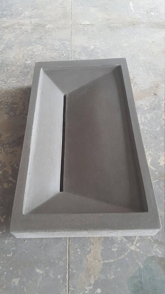 Concrete Bathroom Sink Slot drain vessel