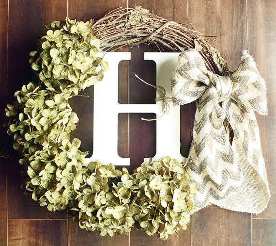 Monogrammed Green Hydrangea Grapevine Wreath with a by ChicWreath, $45.00