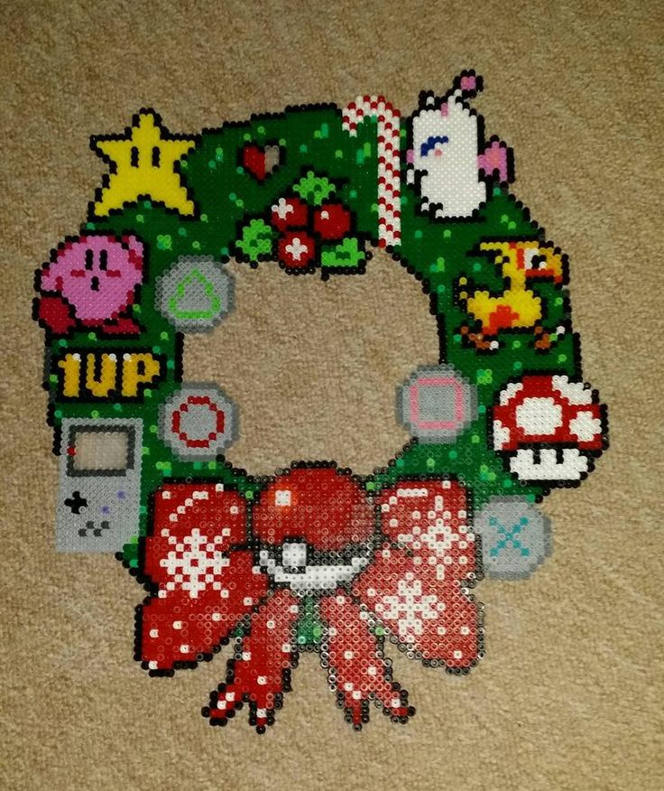126 best Perler Beads Wreaths images on Pinterest | Christmas ...