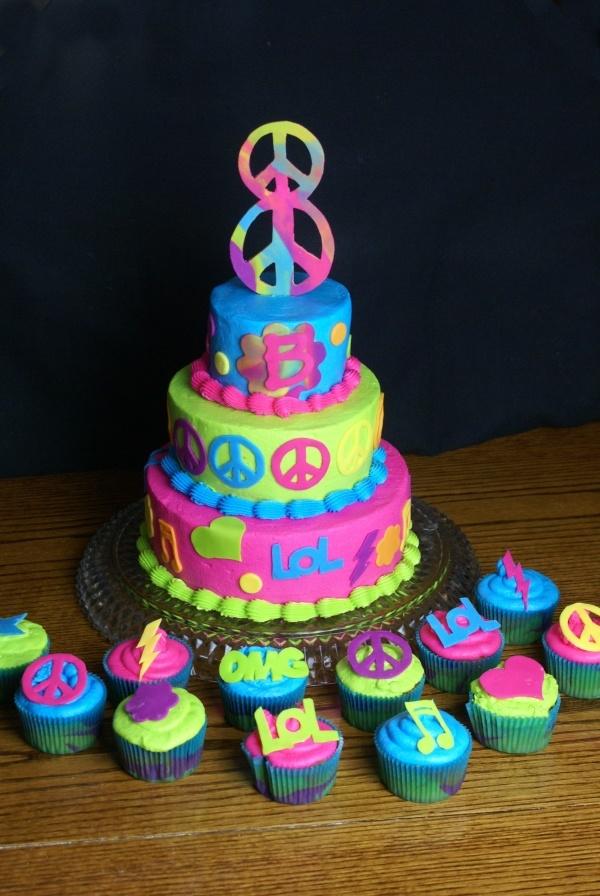 :): Peace Signs Cake, Neon Cake, Birthday Parties, Cake Ideas, Peacesigns, Parties Ideas, Girls Birthday, 21St Birthday Cake, Birthday Cakes