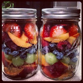 Fruit salad in a mason jar is a fast, healthy pick-me-up. Throw in a serving of yogurt to make it extra hearty   The Hip & Urban Girl's Guide   Real fast food
