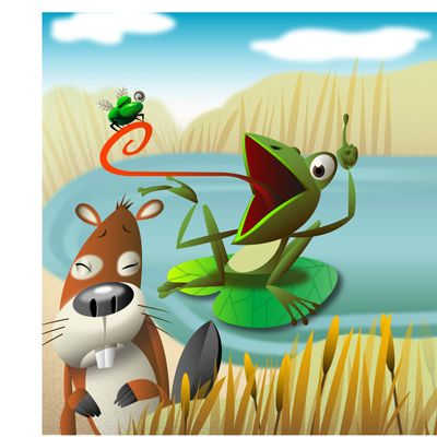 LillyPad with Beaver. Illustrated by Amy Ning, represented by Liz Sanders Agency. lizsanders.com