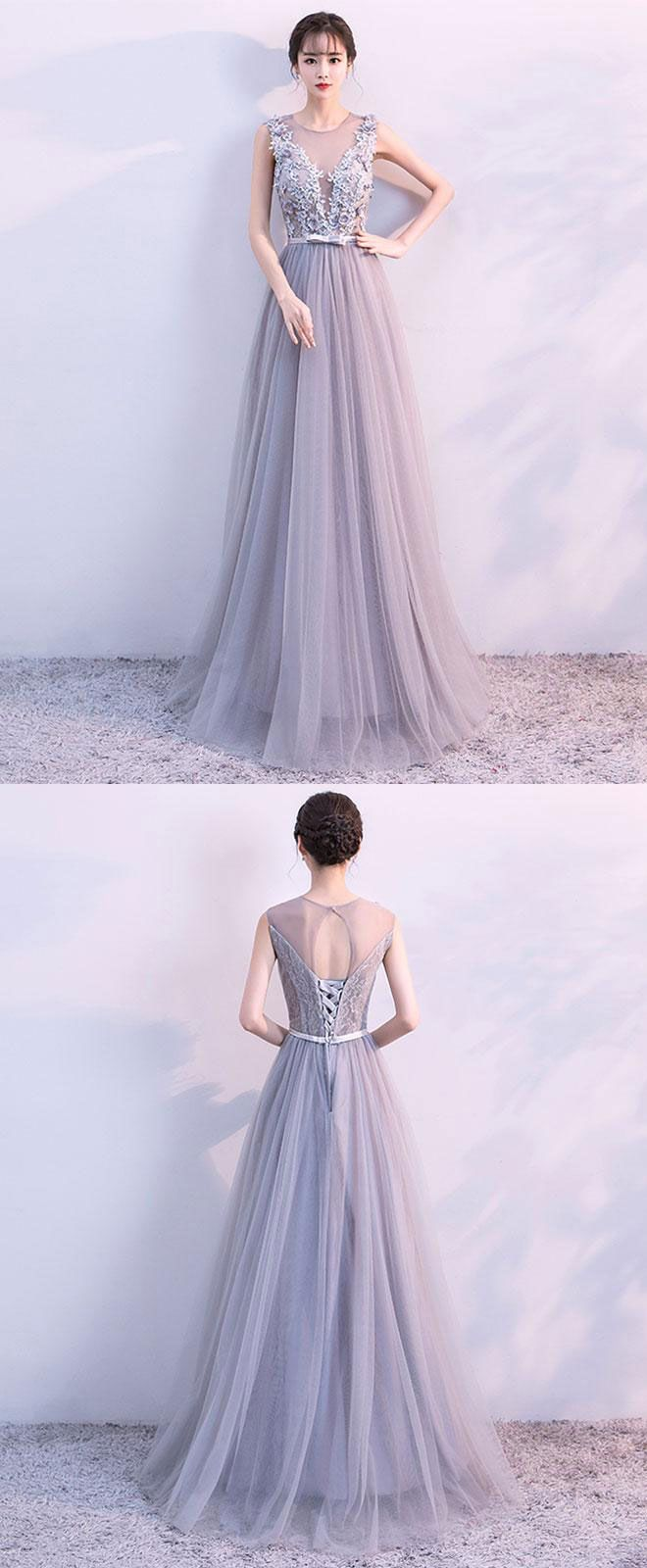 Gray A line tulle lace long prom dress, lace evening dress, gray tulle formal dress, bridesmaid dress