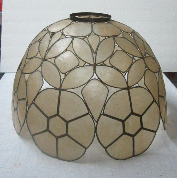 30 capiz pinterest vintage capiz shell lamp shade retro mid century large dome shape mozeypictures Gallery