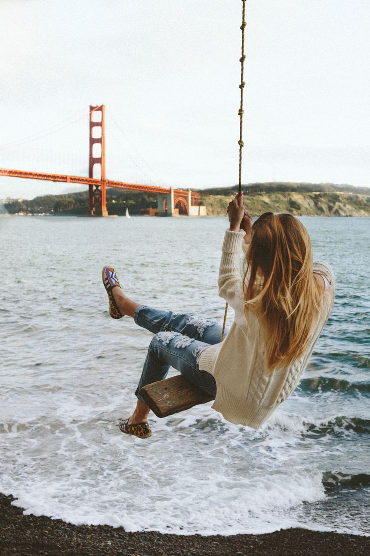 MARCH 2016GOLDEN STATE SWING SAN FRANCISCO, CALIFORNIA  This spot has been on my bucket list for years now and I was so excited to  finally find it. Whoever put that rope there deserves a pat on the back  because it really makes for a memorable trip. I mean, when was the last  time you were on a swing? Plus it has the most epic view of the city and  the entire Golden Gate Bridge.  I don't know why but I am the worst swinger. I always manage to flip upside  down, run into a tree, let go too…