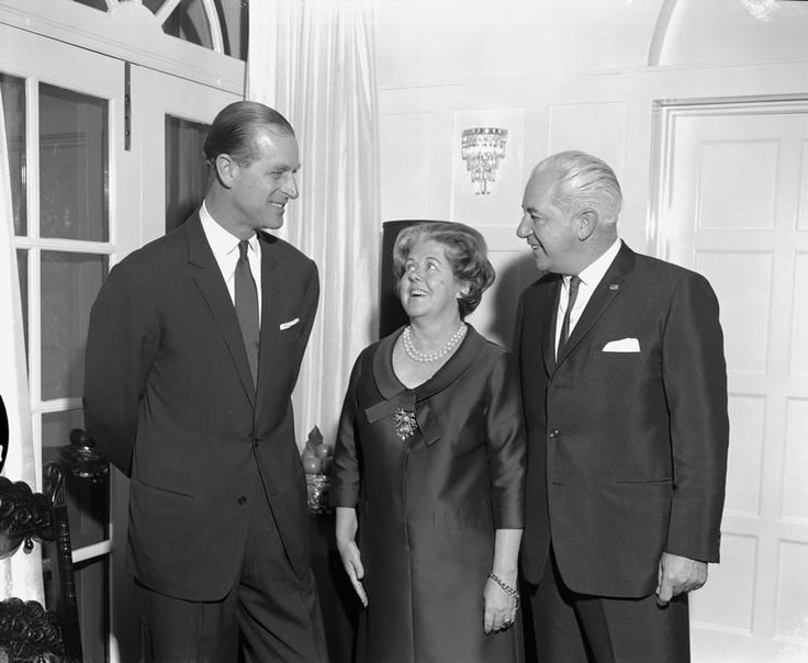 Australian Prime Minister Harold Holt (right) and his wife Zara with the Duke of Edinburgh in Canberra, 1967.