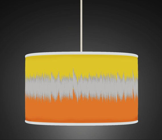 30cm Ikat Yellow Orange Retro Handmade Giclee Style by ArkHouse