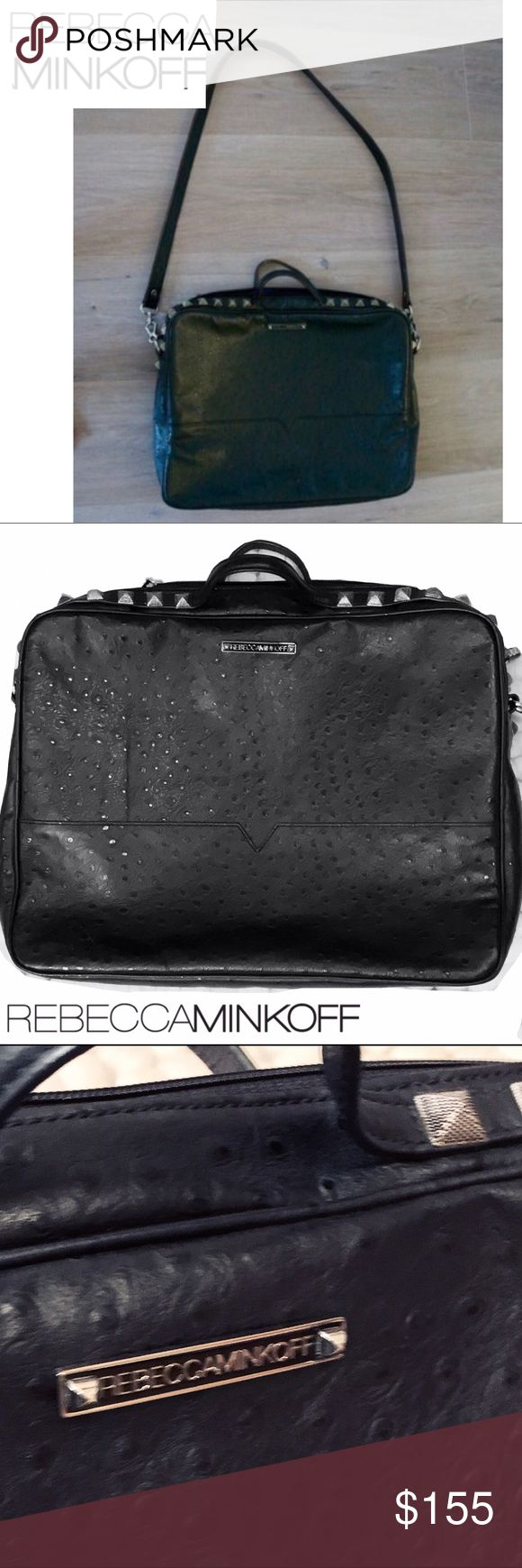 Gorgeous Rebecca Minkoff Ostrich Laptop case/bag REBECCA MINKOFF   Luxe Ostrich Leather Sleever Laptop Bag The bag definitely has some edge, understated rockstar factor 😉. The ostrich leather for texture, fully lined w/ deep blue and black polka dots. Spikes on the top/corners (you can see in the photos) Also comes with the cross body strap. Excellent condition! Keep your laptop safe and stylish at the same time:). Rebecca Minkoff Bags Laptop Bags