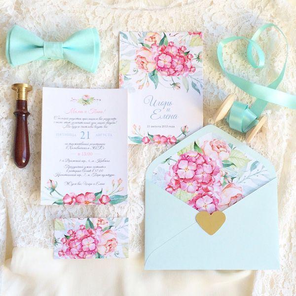 """Купить Акварельные свадебные приглашения """"Гортензии на голубом"""" - приглашение на свадьбу, акварельные приглашения"""