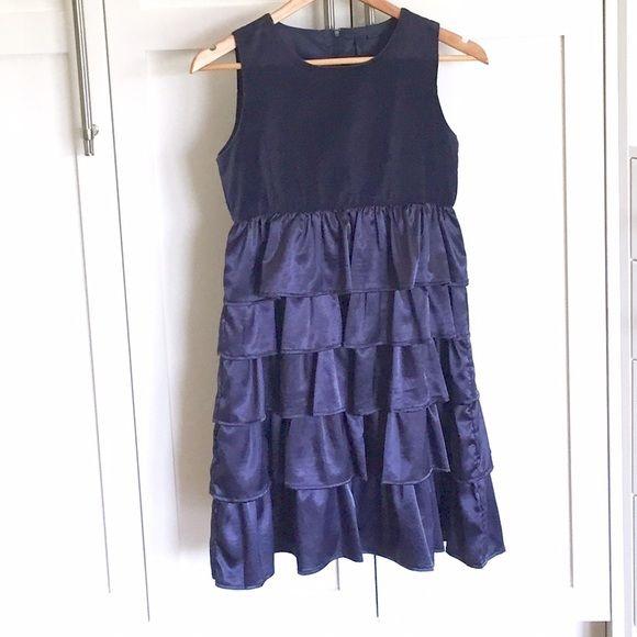Benetton Class velvet/satin dress Velvet bodice. Satin tiered skirt. Satin slip. Zipper closure in the back. Worn once, new condition. Beautiful party dress! United Colors Of Benetton Dresses
