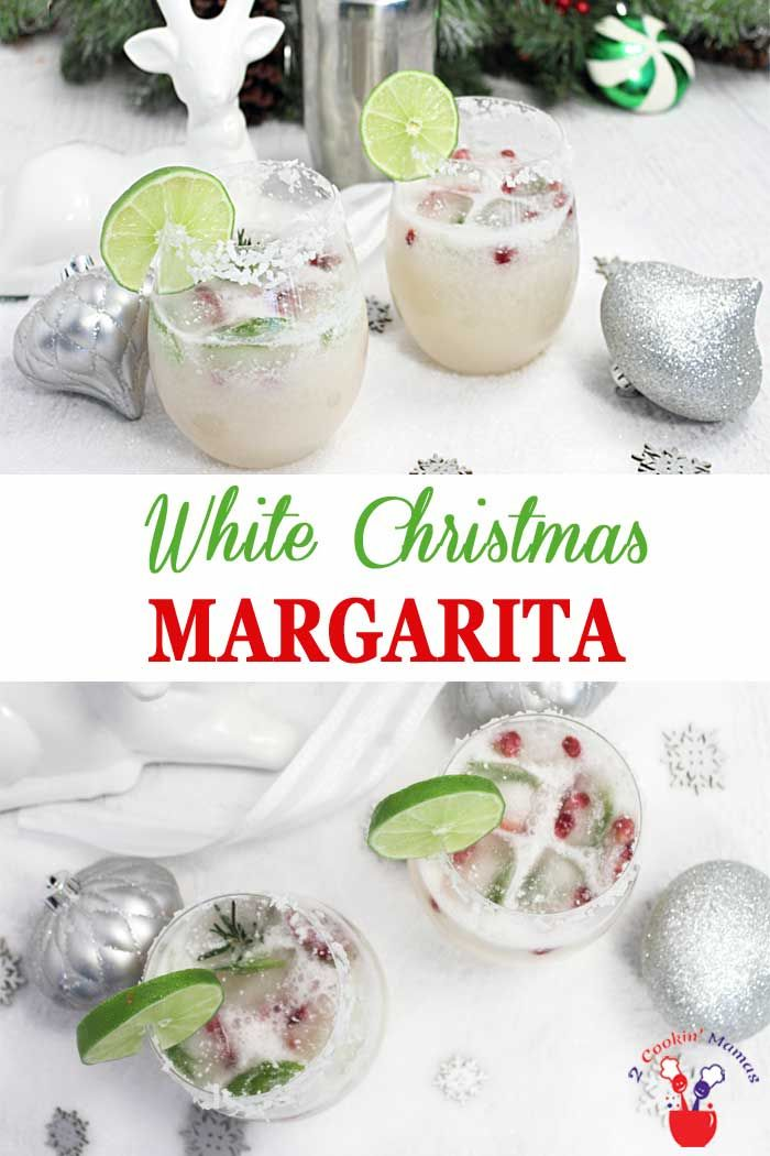 White Christmas Margarita | 2 Cookin Mamas The holidays never tasted so good! Our White Christmas Margarita has all the flavors of a standard margarita with the addition of white cranberry juice and coconut. Make it for 2 or a crowd and put a little bit o