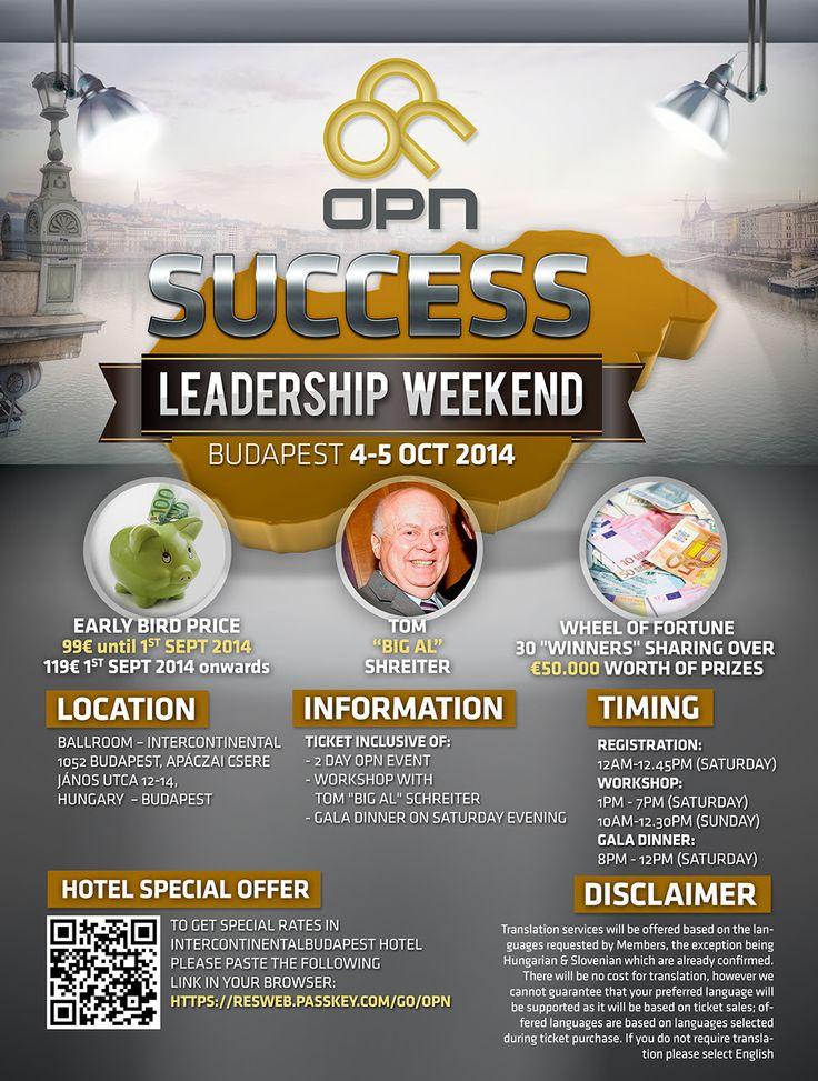 """Success Leadership Weekend   Asiguraţi-vă şi rezervati deja de astazi biletele pentru sfarsitul de saptamana""""Success Leadership"""", de la Budapesta cu Tom 'Big Al' Schreiter.   TOTI MEMBRII, CARE AU CUMPARAT DEJA UN BILET, SAU VOR FACE ACEASTA PANA LA DATA DE 20 SEPTEMBRIE, PRIMESC ACTIUNI GDS IN VALOARE DE  100 €, CA UN MULTUMESC PENTRU ANGAJAMENTUL LOR."""
