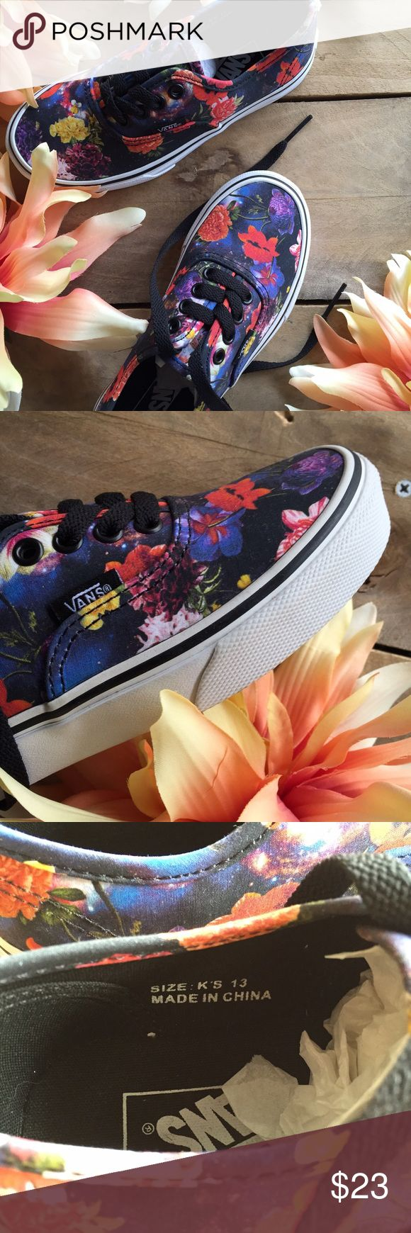 Girls Vans Shoes NWOT Girls, size 13. Brand New. Vans Kids galaxy Floral authentic. Cute, stylish galaxy floral print. Perfect for summer, school days, everywhere and everyday for your little girl. Enjoy! Vans Shoes Sneakers